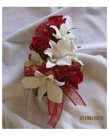 BGHF Red Rose and Orchid Corsage