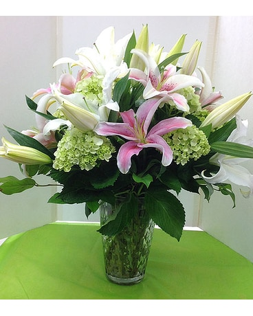 Pink Lily & Green Hydrangea