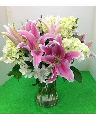 Pink Lilies and Green Hydrangea