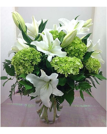 White Lilies and Green Hydrangea