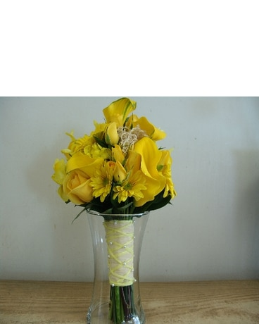 Yellow lily rose bridal bouquet in lyndhurst nj flowers by chuck yellow lily rose bridal bouquet mightylinksfo