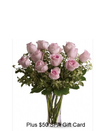 Dozen Pink Roses with Spa Gift Card