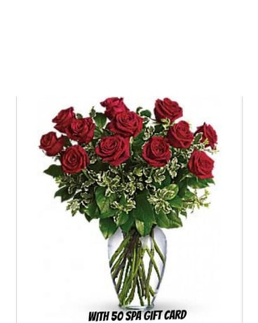 Dozen Red Roses with SPA Gift Card