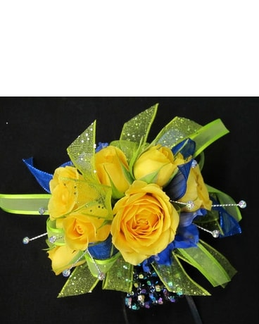 Yellow roses, lime & blue accent