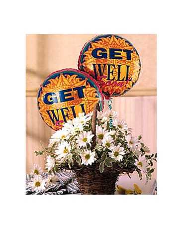 Quick view Basket Full of Daisies with Get Well Balloons
