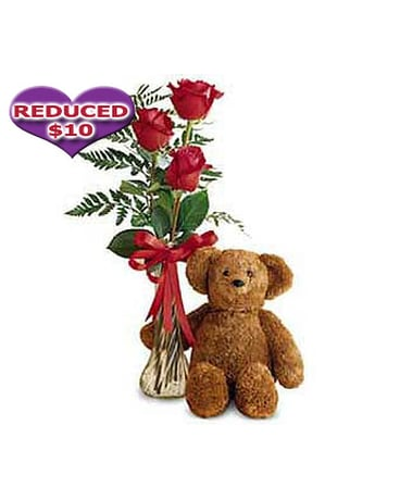 Bear And 3 Roses Bud Vase Choose A Color In Bound Brook Nj