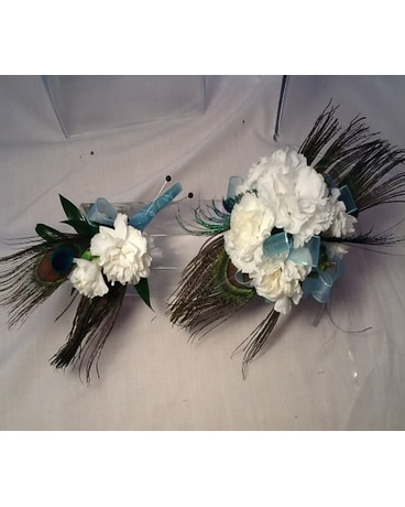 White Carnations with Peacock  Feathers Set