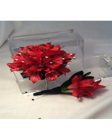 Red Alstromeria Corsage and Boutonnière Set