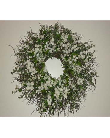 White Dogwood Wreath In Drexel Hill Pa Farrell S Florist