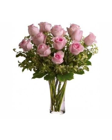 One Dozen Imported Pink Roses