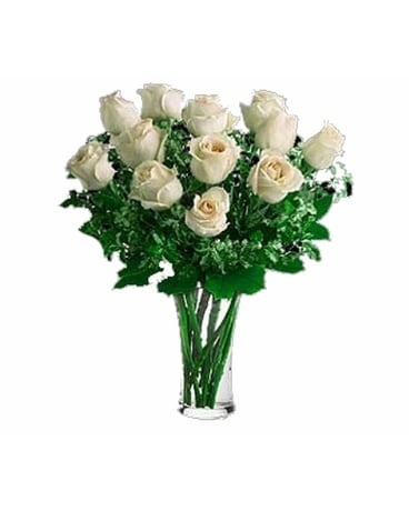 One Dozen Imported White Roses