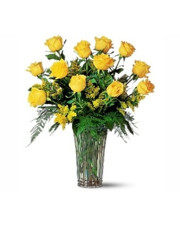 One Dozen Imported Yellow Roses