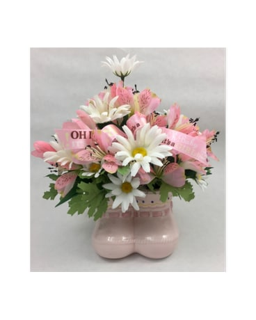 Silk Pink Booties - Artificial Arrangement