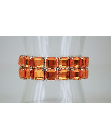 Large Square Orange Rhinestone Bracelet