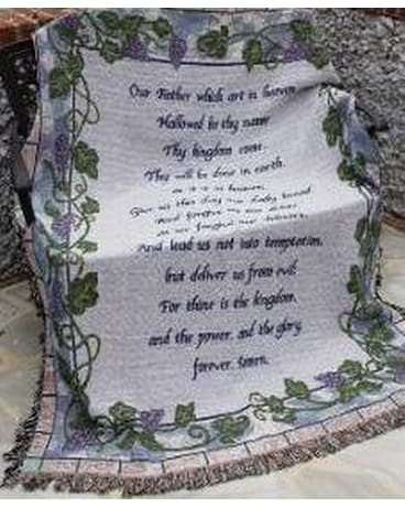Blue Lord's Prayer Throw