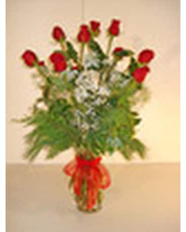 Dozen Christmas Red Roses