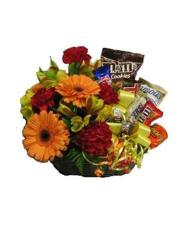 Flowers & Candy Basket Bouquet