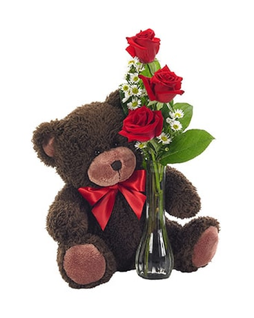 Bear with Red Rose Bud Vase