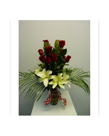 One Dozen Red Rose with White Lilies