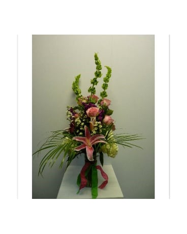 Country Vase in Pink, Purple, White and Lime Green