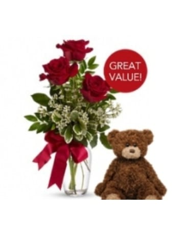 Buds and Blooms 3 Red Roses with Plush Bear