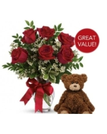 Buds and Blooms Half Dozen Roses with Plush Bear