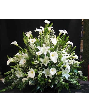 Mixed White Funeral Basket