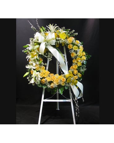 Yellow and White Wreath on Stand