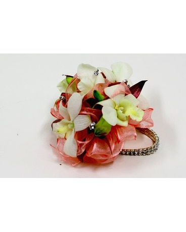 Wrist White Roses With Pink Tips