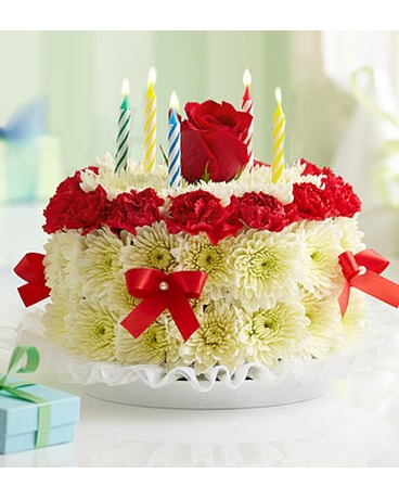 BIRTHDAY FLOWER CAKE RED