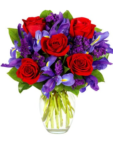 RED ROSES AND IRIS BOUQUET