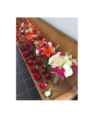 Punch of Color Bridal Party Flowers