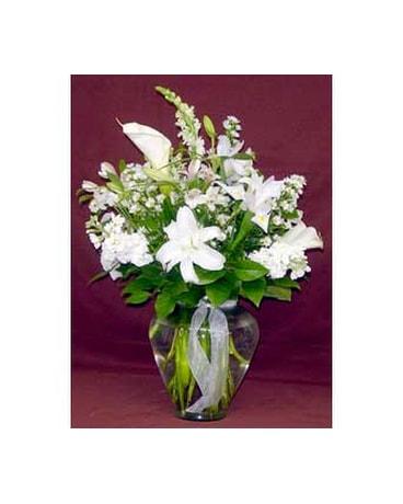 All White Ginger Vase In Massapequa Park Ny Bayview Florist Montage