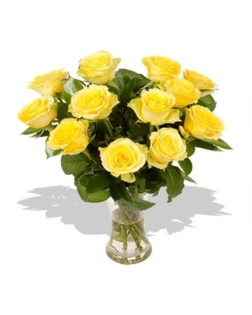 One Dozen Yellow Roses Vased