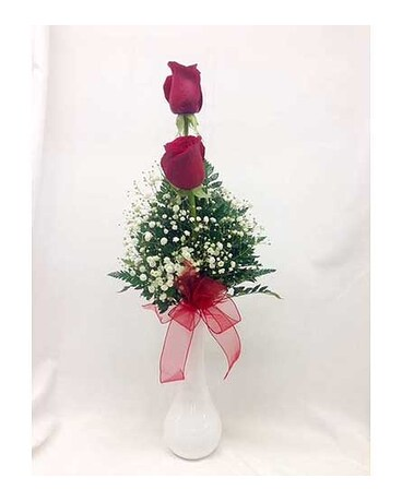 Red Roses In A Bud Vase In Titusville Fl Floral Creations By Dawn