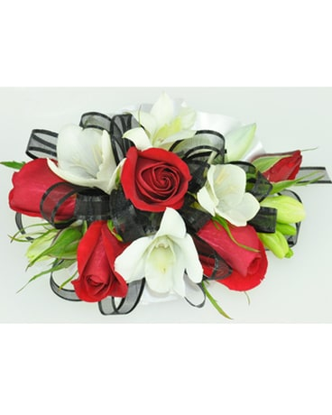 Wrist Corsage - Red and White