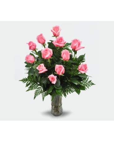 1 Dozen Pink Long Stem Roses