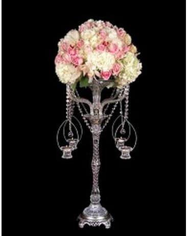 Crystal Flowerstand With Candle Baskets In Staten Island Ny Eltingville Florist Inc