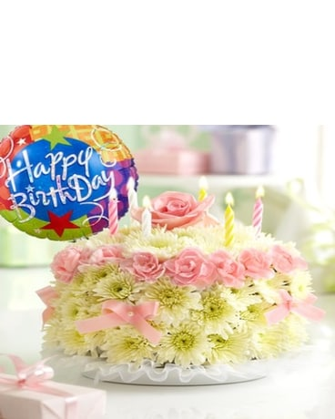 Birthday Flower Cake® Pastel with Balloon