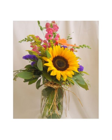 Sunshine in a mason jar in saratoga springs ny dehns flowers sunshine in a mason jar mightylinksfo