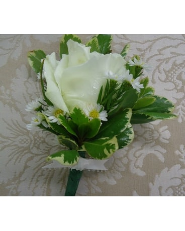 Wonderful White Rose Boutonniere In Saratoga Springs Ny Dehns
