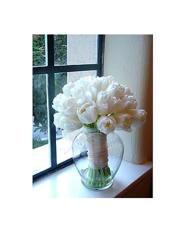 All White Tulip Bouquet