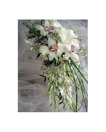 All White Cascade Of Lilies And Orchids In Sarasota Fl Flowers By