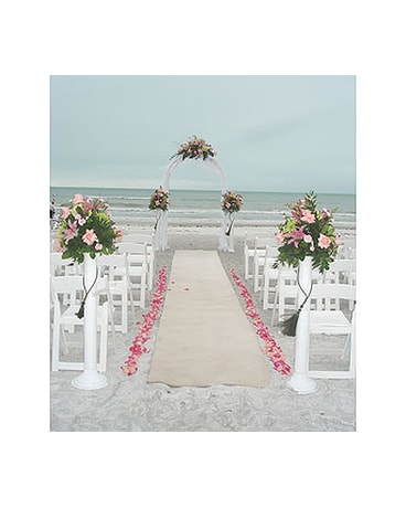 4982b805e15f4 Flat arch w petals lining the aisle   stanchions in Sarasota FL ...