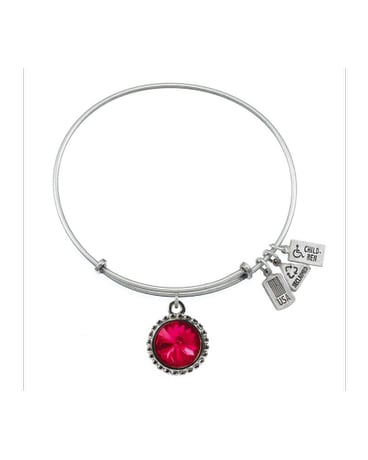 July Birthstone Charm Bangle Silver