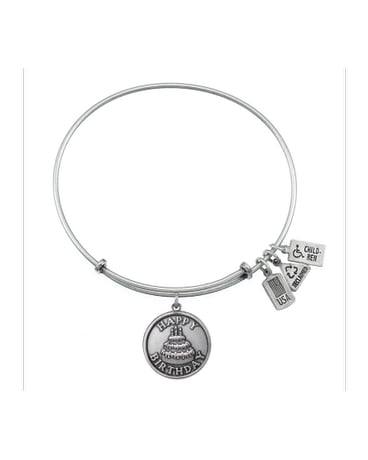 Happy Birthday Charm Bangle Silver