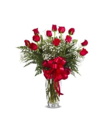RED DOZEN ROSES ARRANGED