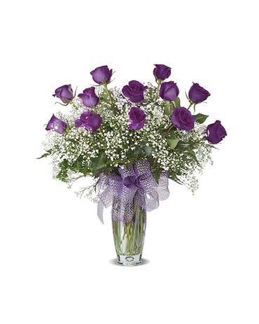 LAVENDER DOZEN ROSES ARRANGED