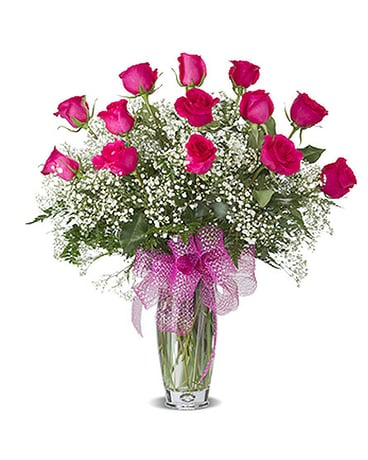 HOT PINK DOZEN ROSES ARRANGED