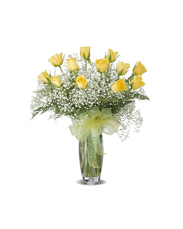 YELLOW DOZEN ROSE ARRANGED